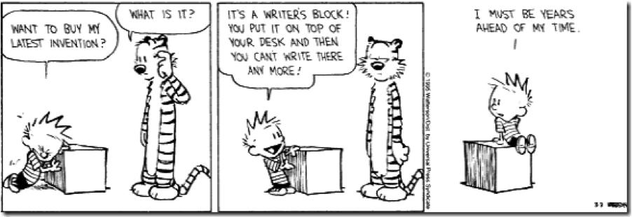calvin n hobbes writers block